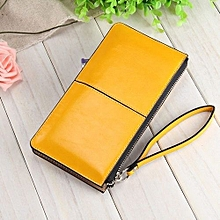 Women Wallets Candy Oil Leather Wallet Long Design Day Clutch Casual Lady Cash Purse Women Hand Bag Yellow