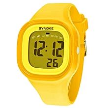 Silicone LED Light Digital Sport Wrist Watch Kid Women Girl Men Boy(Yellow)