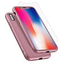 GKK for   iPhone X / XS   Three-paragraph 360 Degrees Full Coverage Protective Cover Case with Tempered Glass Film(Rose Gold)