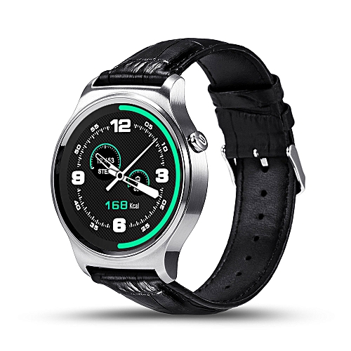 New GW01 Bluetooth Smart Watch IPS Round Screen Life Waterproof Sports  smartWatch For apple huawei Android IOS Phones(#Silver Leather)