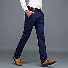 2 pack Men's trousers casual chinos cotton -jungle green&navy blue+Free pair of sock
