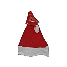 Santa Hat With Star Led Light - Non Woven- Red and White