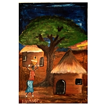 African wall painting - 30 by 44 cms - multicolor