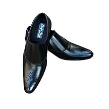 Men's Slip On Leather Pointed Tip Formal Shoes-Black