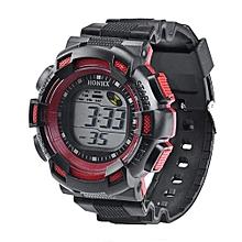 Men Fashionable LED Digital Alarm Date Rubber Army Watch Waterproof Sport Wristwatch-Red