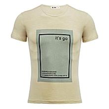 Beige Letter Print Short Sleeve T-Shirt