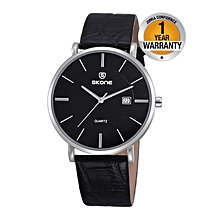 City Silver Watch With Black Leather Strap