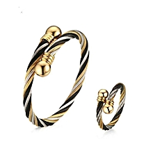 New Twisted Cable Cuff Bangle Bracelet/Ring Jewelry Sets for Women VNOX Punk Surgical Steel Jewelry Sets Adjustable Size