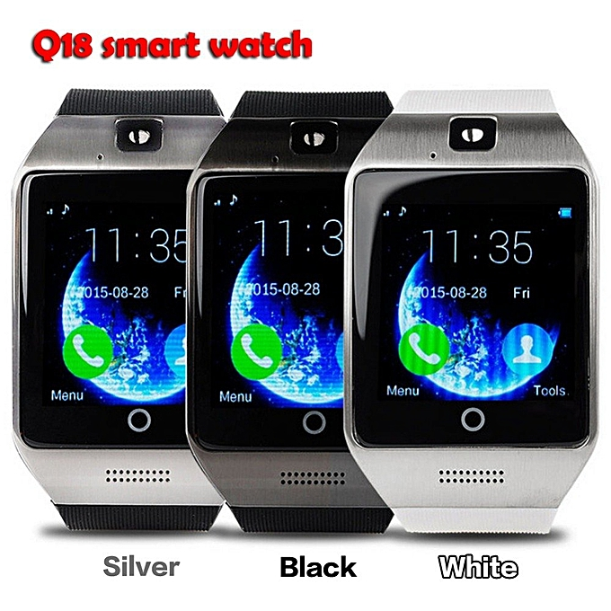 Bluetooth Smart Watch Q18 With CamFacebook Whatsapp Sync SMS MP3 Smartwatch  Support SIM TF Card For IOS Android Phone(White) XJMALL