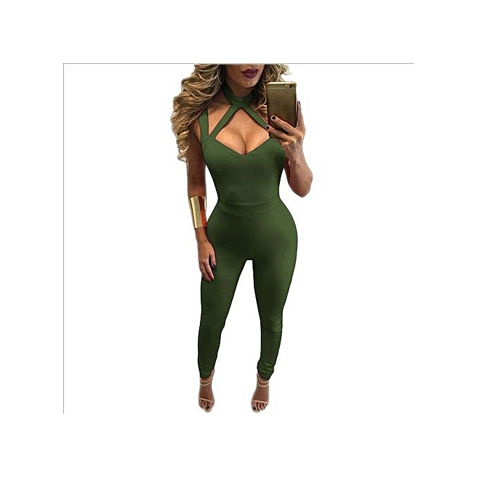bb8889cde726 New Style Woman Sexy Sleeveless V-neck Hollow Out Design Backless Woman Zipper  Jumpsuit Green