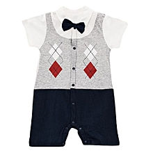 Cute Baby Boy Toddler Bowknot checked short Sleeve Boys Romper Jumpsuit with FREE SOCKS.
