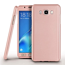 360 Full Body Protection Hard Slim Case Coated Non Slip Matte Surface with Tempered Glass Screen Protector for Samsung Galaxy J7 2015 (Rose Gold)   XXZ-Z