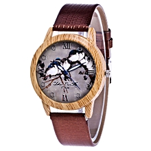 Lady  Leather Wrist Watch Zhoulianfa Fashion Ladies Leisure Artificial Leather Quartz Simulation Watch-Coffee