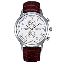 Fohting NORTH Stainless Steel Leather Men's Business Quartz Wrist Watch D -Coffee