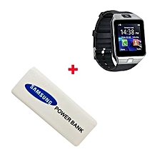 DZ09 Smart Watch Phone for Android and Apple With Free Power Bank 5600mAh - Silver Black