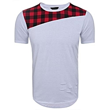 Men Casual Short Sleeve O Neck Plaid Cut Off Patchwork Pullover Long T-Shirt ( Red )