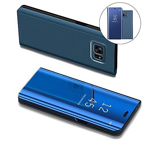 hot sale online e4d23 03ff5 Samsung Galaxy S6 Edge Leather Case Flip Cover With Plating Mirror And  Stand Function-Blue