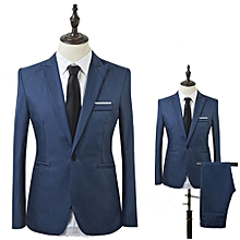 Men Slim Fit Business Leisure One Button Formal Two-Piece Suit for Groom Wedding-Sapphire Blue - Sapphire Blue - M
