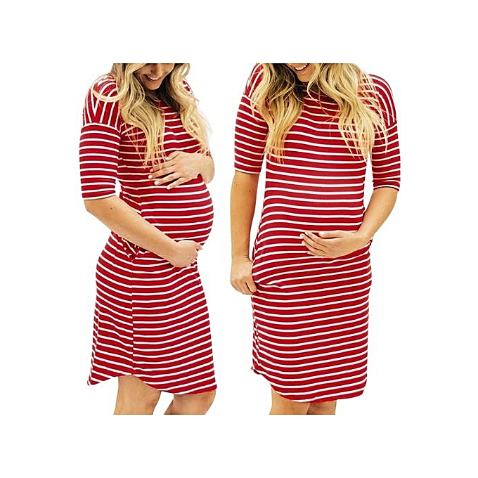 afc732fbed460 Tectores Fashion Womens Pregnants O-Neck Stripe Short Sleeve Nursing  Maternity Dress