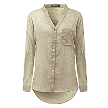Womens V-neck Long Sleeve Casual OL Shirt Ladies Linen Tops Blouse Size 8-22