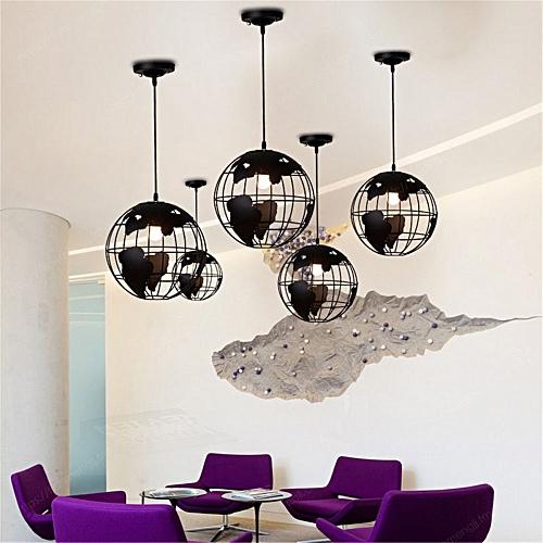 Universal Modern Pendant World Map Globe Hanging Lamp Ceiling Light
