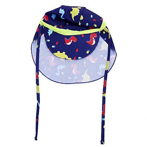 59264f741 Kids boys and girls Sun Protection Sporty Flap Swim Hat UV Flap Cap( Yellow  stripe red yellow dinosaur )