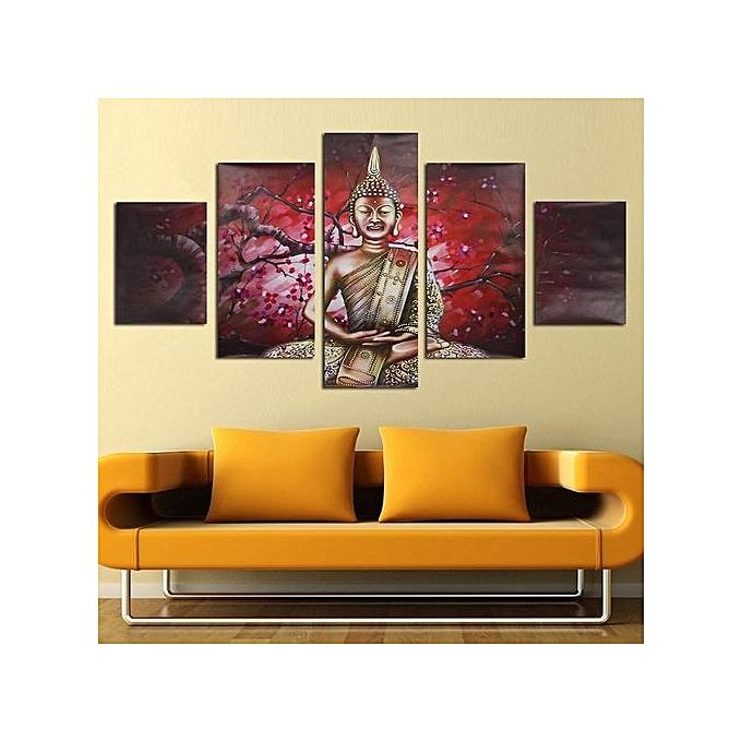 Buy UNIVERSAL 5Pcs Abstract Printed Buddha Modern Unframed Canvas ...