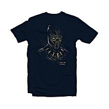 Black Panther Print Navy Blue Cotton T-shirt