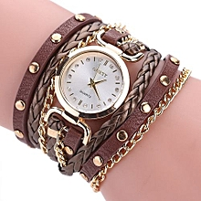 Lady  Leather Wrist Watch GAIETY Ladies Bracelet Student Table Small Twist Rivet Leather Bracelet Table C-Brown