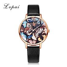 Luxury Women's  LVPAI Wrist Watches Women Classic Leather Band Analog Quartz Round Wrist Watch Watches Black-Black