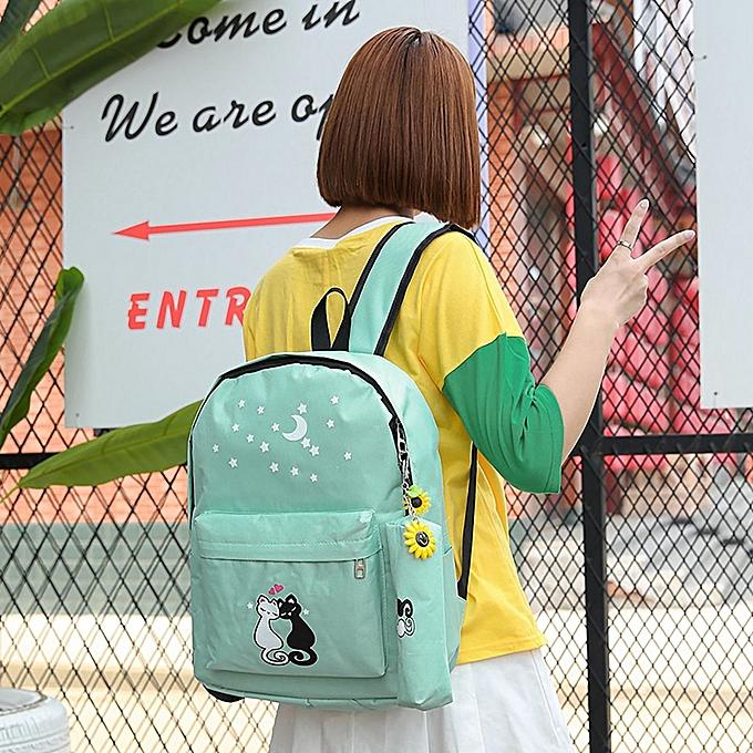 Buy Generic 4Pcs Women Canvas Composite Bags Cat Backpack Shoulder ...