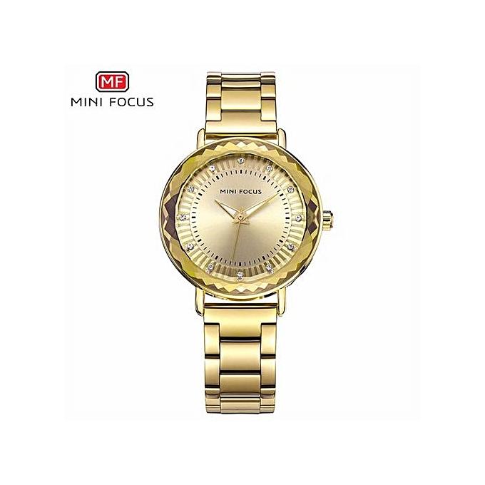 067c781d4be MINIFOCUS Quartz Watch Women s Watches Luxury Fashion Rhinestone Gold Stainless  Steel Cool Clock Ladies Wristwatch Clock
