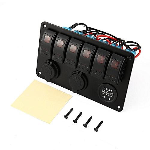 6 Gang Waterproof RV Car Marine Boat Circuit Breaker LED Rocker Switch  Panel Red Light