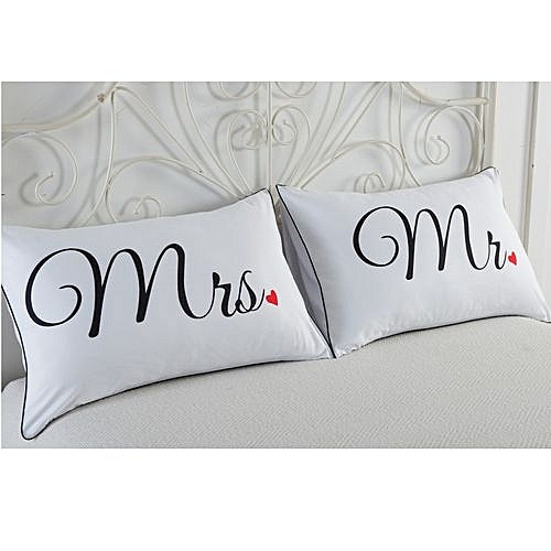 Set Of 2 Couples Pillow Cases Letters Printed Pillowcases Bedding  Wedding B