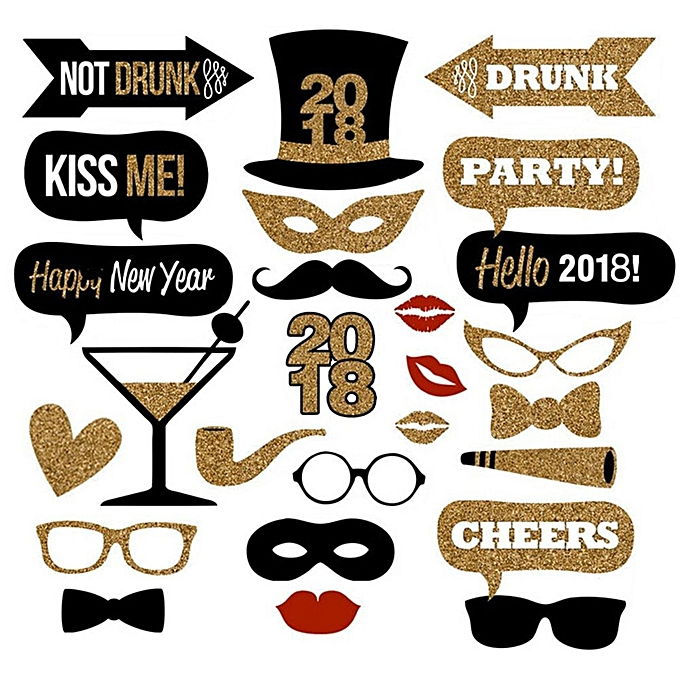 Buy Generic 2018 New Years Eve Party Photo Booth Props 26pcs Diy Kit