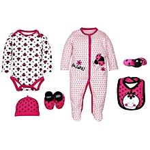 Fashion Baby Girls 5 Piece Full Romper Set - Little Lady print