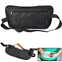 Portable Close-fitting Ultralight Documents / Pocketbook Multifunctiona Anti-theft Waist Bag(black)