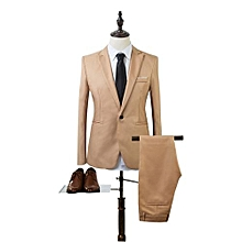 Sanwood Men Slim Fit Business Leisure One Button Formal Two-Piece Suit For Groom Wedding -Khaki