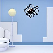 Fashion Design Circle DIY Mirror Wall Clock Wall Sticker Home Decor Black- Black
