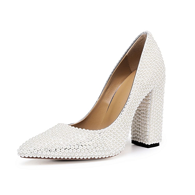 Generic White Pearl Block Heel Elegant Wedding Bride Shoes   Best ... ba9ba73b986f
