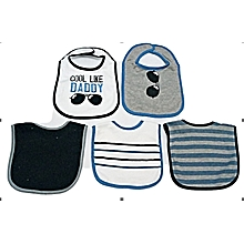 5 Pieces Washable Cotton Bibs - Cool Like Daddy Blue