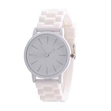 Silicone Rubber Unisex Quartz Analog Sports Women Wrist Watch WH
