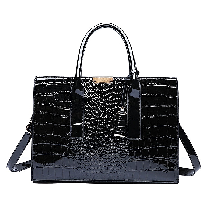 aa82ceb197 Generic Shiny Leather Handbags Top Handle Shoulder Bag - Black ...