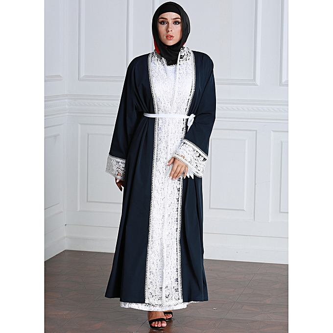 784a2bda50df Women Plus Size Muslim Cardigan Spliced Crochet Lace Long Sleeve Islamic  Abaya Maxi Dress Outwear Dark