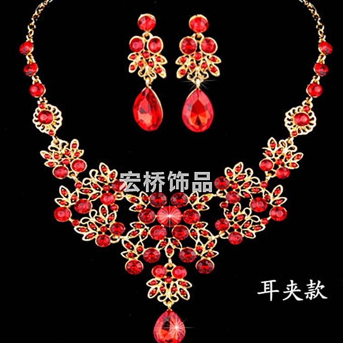 The bride matrimony decoration insets to drill three set marriages of  necklaces to celebrate jewelry matrimony suit best-selling style of