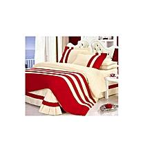 5*6 Cotton Red -Cream Duvet cover set