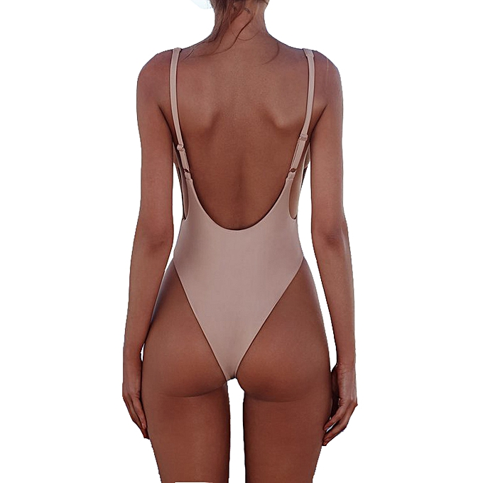 d25f78a2e4 ... New Solid Pink Monokini Women One Piece Swimsuit 6-12 Backless Bathing  Suit Girl Sexy ...
