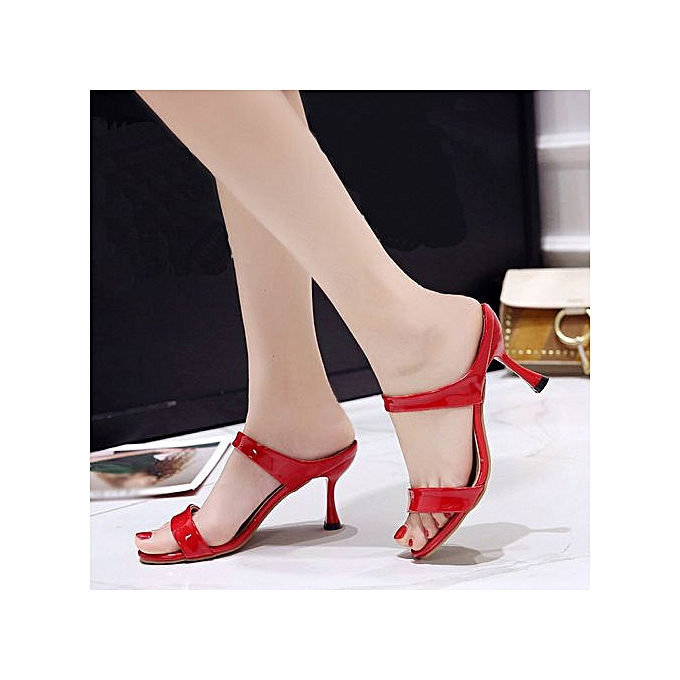 51ad9498e74bf ... LightningFashion Women Fish Mouth Sandals Ankle High Thin Heels Party  Open Toe Shoes -Red ...
