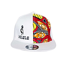 White And Red Snapback Hat With Kelele Color On Panel