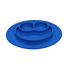 Multipurpose Non-slip Silicone Placement Plate Smile Face Shaped Mold Tray - Deep Blue